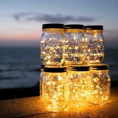 20LED Solar Mason Jar Licht Deckel Leuchtet Hochzeit Party Outdoor /Indoor Décor ()