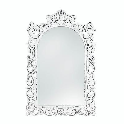 DISTRESSED SHABBY CHIC WEATHERED WHITE ARCHED ORNATE WALL MIRROR DECOR~10018066