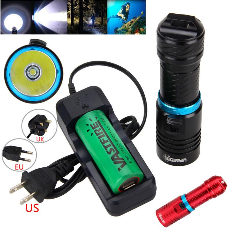 Adjust Brightness10000LM T6 LED Diving Flashlight Torch Waterproof 100m 18650  C
