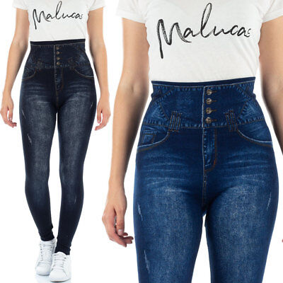 Jean Leggings (MALUCAS SPORTS Damen Leggings High Waist Skinny Jeans-Look Leggins Corsage Yoga)