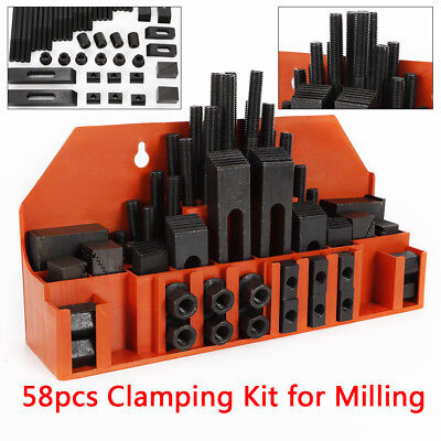 58 M12 Clamping Kit 14mm Nuts T-slots Step Block For Metal Milling Machine Tool