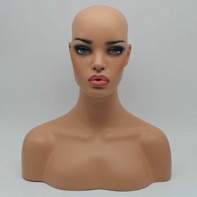Realistic Fiberglass Beach Skin Female Mannequin Head Bust For Wigs