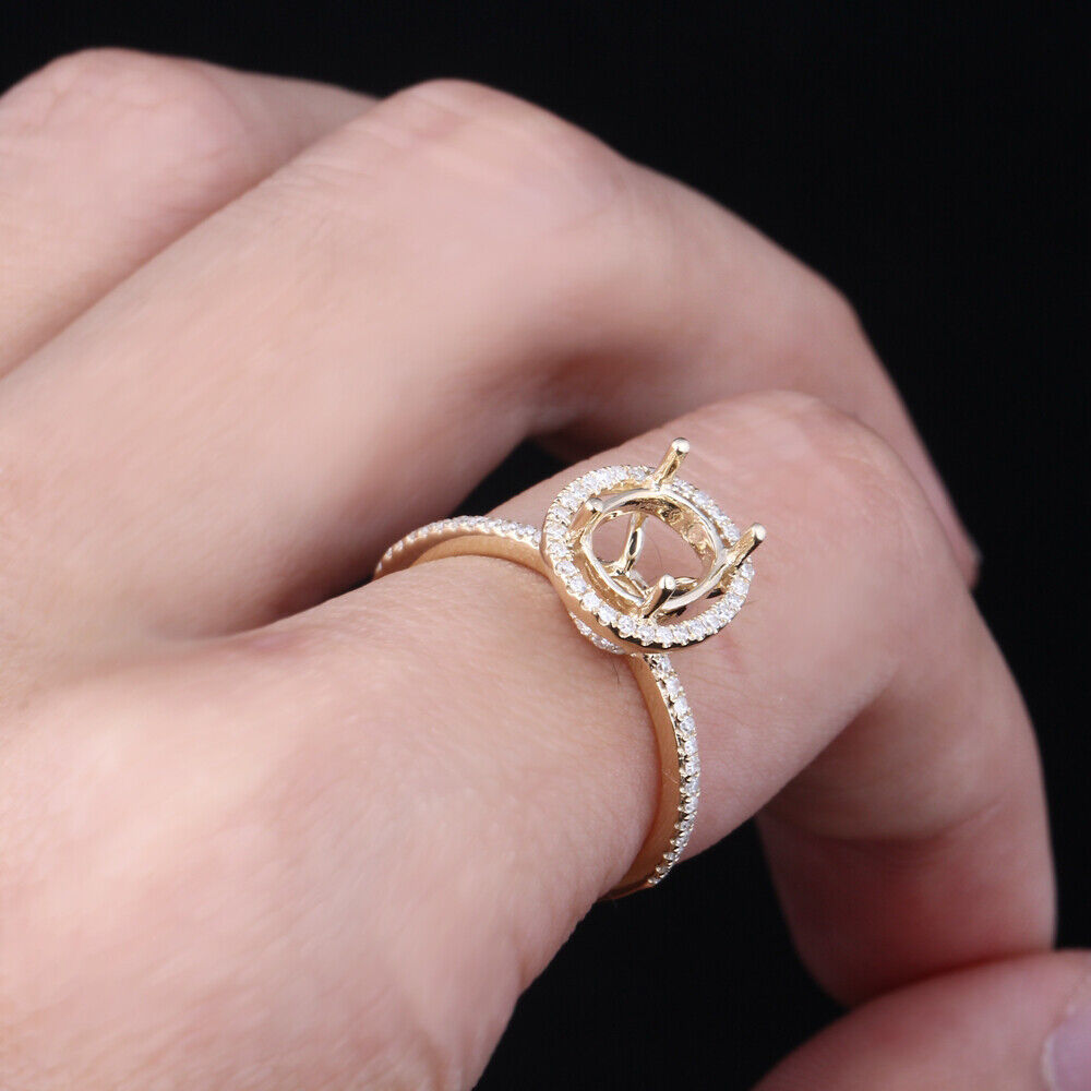 Solid 10K Yellow Gold Oval Cut 8x6mm Diamond Engagement Semi Mount ...