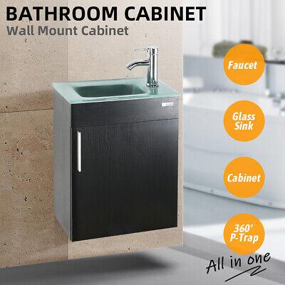 "19"" Black Bathroom Vanity Cabinet Set Vessel Sink Faucet W/ Wood Glass Top Combo"