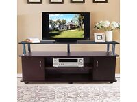 SALE! TV Stand Cabinet with Fashion Black Tempered Glass Top Television Unit