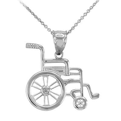 10k White Gold Medical Handicap Disability Wheelchair Pendant Necklace