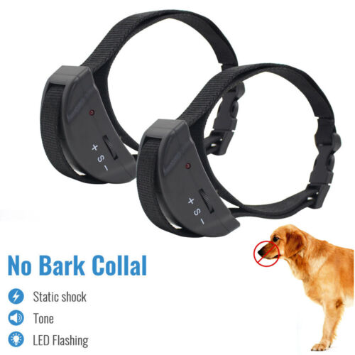 2X Anti No Bark Dog Trainer Collar Stop Barking Training Control Petrainer