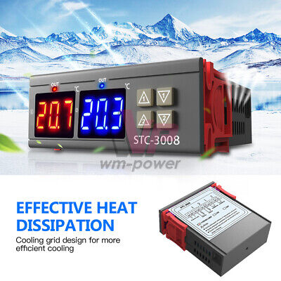 Stc-3008 Dual Digital Ac110-220v Temperature Controller Thermostat W Ntc Sensor