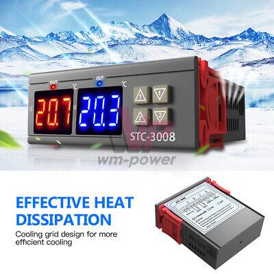 Stc-3008 Dual Digital Ac110-220v Temperature Controller Thermostat W Ntc Sensor