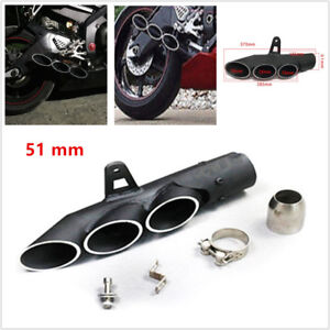 Exhaust Muffler Pipe Three-outlet Tail Pipe For Motorcycle Exhaust System 51mm