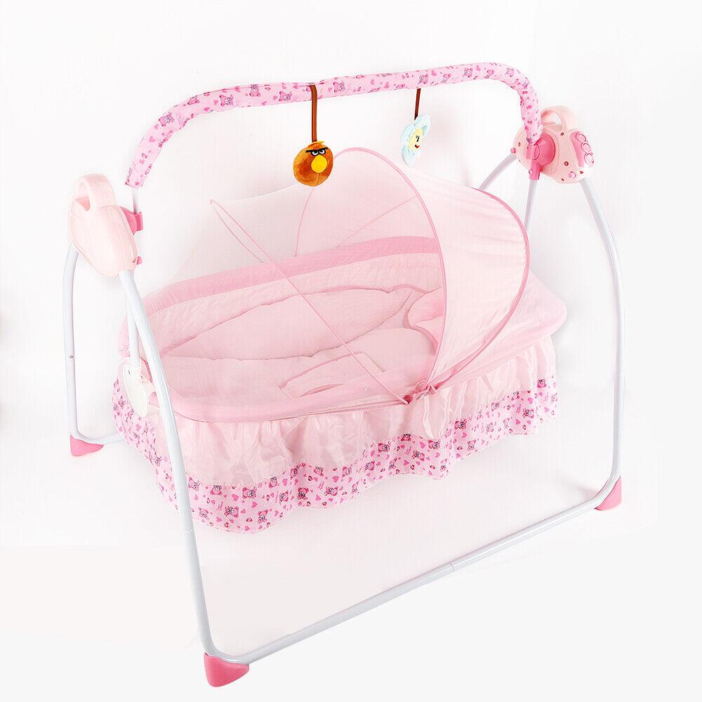 automatische elektrische babyschaukel babywippe wiege schaukel wippe musik rosa ebay. Black Bedroom Furniture Sets. Home Design Ideas