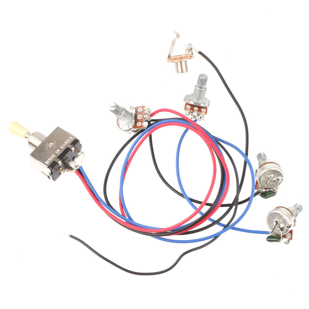 Wiring Harness 3 Way Toggle Switch 2v2t 500k Pots Jack Les Paul Lp Of See More