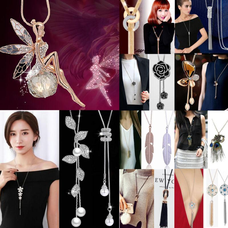 Fashion Women's Crystal Tassel Pendant Long Chain Sweater Ne