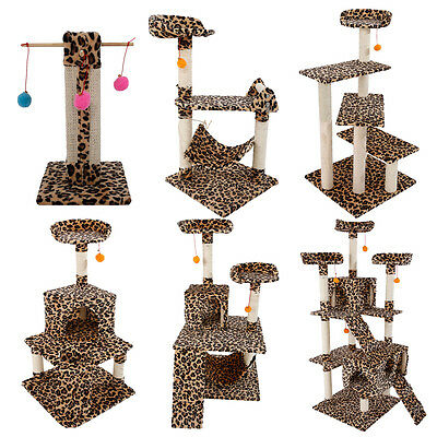 "Leopard Print Cat Tree Condo Scratching Post Pet House Toy 20""-72"""