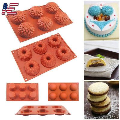 6-Cavity Silicone Cake Baking Mold Soap Mould Cookie Chocolate Cupcake Pan Xmas 6 Cavity Pan