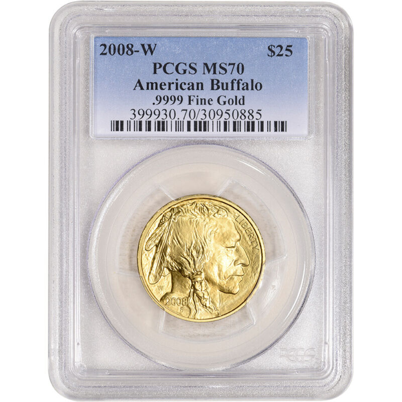 2008-W American Gold Buffalo 1/2 oz $25 Burnished - PCGS MS70