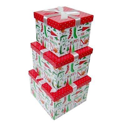 Weihnachts-Geschenkbox mit Schleife versch. Größen Geschenkschachtel Weihnachten