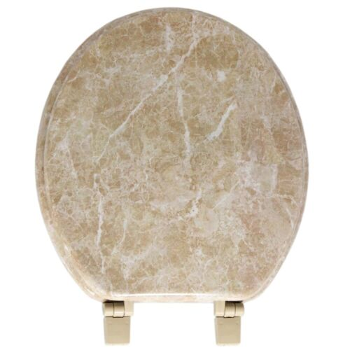 Wood Toilet Seat Round Decorative Tan Marble Colored Lid Best Wooden Replacement
