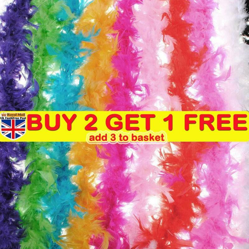 2M Feather Boa Strip Fluffy Craft Costume Fancy Dress Wedding Party Decor 4types