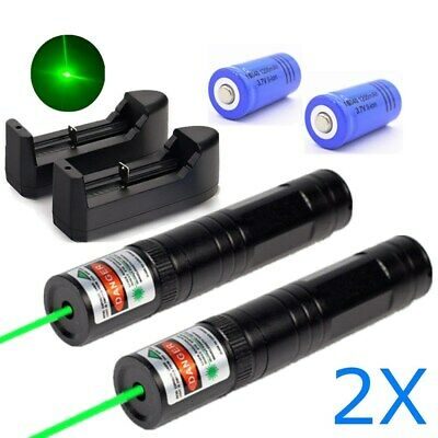 2pcs 900 Miles Green Laser Pointer Pen Rechargeable Lazer 532nm Chargerbattery