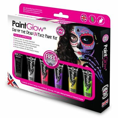 Halloween Face Painting Day Of The Dead (PaintGlow Day Of The Dead UV Face Paint Kit Body Art Halloween Party Make-Up)