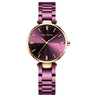 Women's Casual Quartz Watches Waterproof Purple Stainless Steel Band Purple Dial