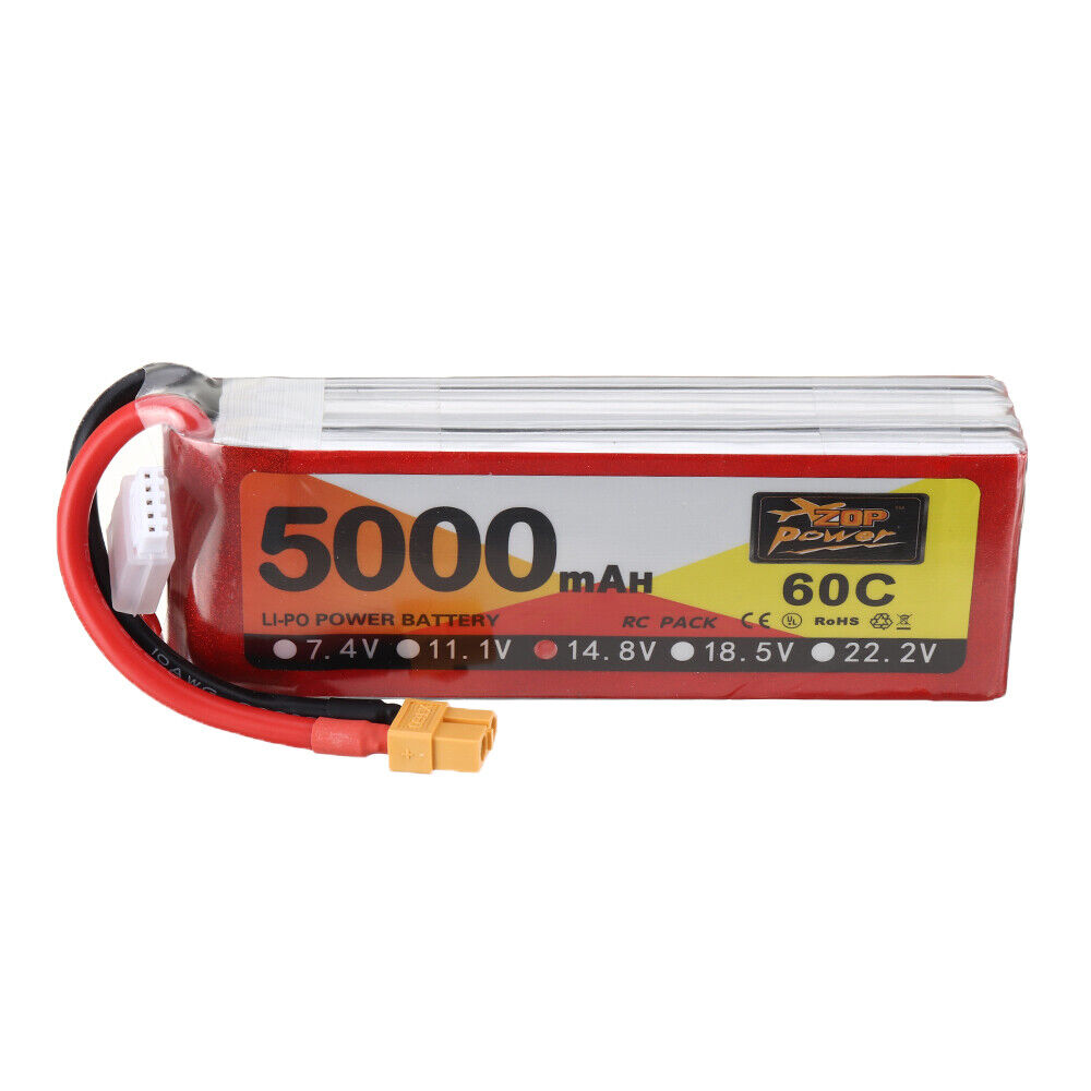 ZOP Power 14.8V 5000mAh 60C 4S Lipo Battery XT60 Plug for RC