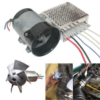 12V Auto Supercharger Kit Air Intake Pressure Turbo Fan Power Booster w/ ESC Box