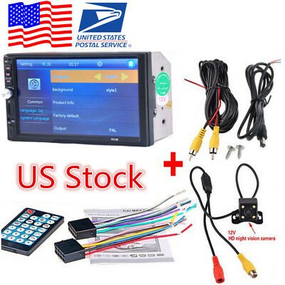 "7"" 2DIN Blueteeth Car In-Dash MP5 Player Touch HD Stereo Radio Camera"