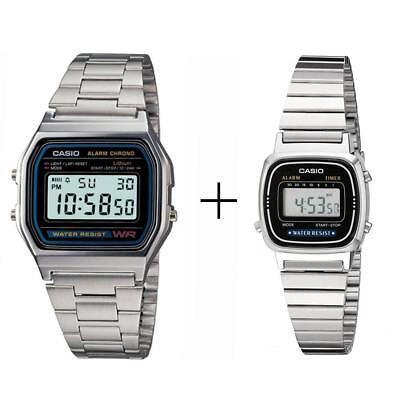 orologio uomo casio a158wa-1d avec orologio donna la670w-1a (2 orologi) bundle