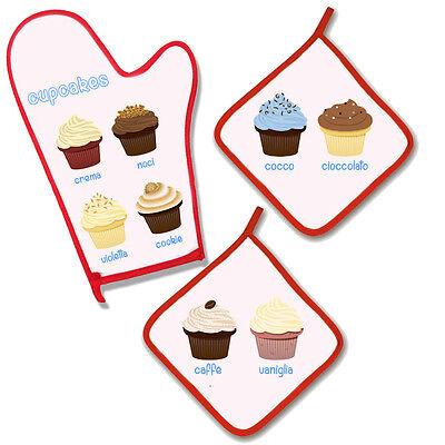 """Set da cucina """"Cupcakes"""", guanto da forno + 2 presine, stampa personalizzabile!"""