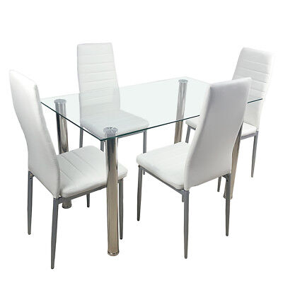 5 Piece Dining Table Set 4 Chairs White Glass Metal Kitchen -