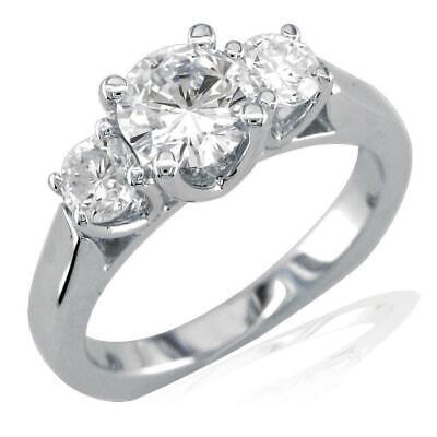 3 Stone Diamond Ring Setting, Round Sides, 0.50CT Ring Settings Side Stone