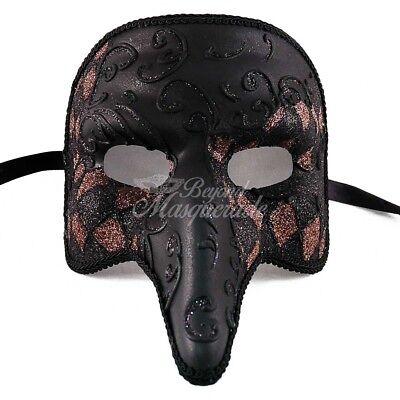 Men's Medieval Plague Doctor Venetian Masquerade Mask - Black [Brown Pattern] (Venetian Doctors Mask)