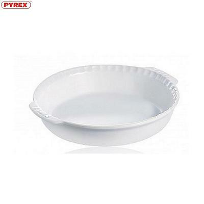 Pyrex Pie Dish With Handles White 26Cm Food Cookware Bakeware Kitchen Home New