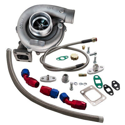T04E T3/T4 A/R.63 57 Trim 400+HP Stage III Turbo Charger+Oil Feed+Drain Line Kit Toyota Celica Turbo