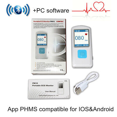 Us Seller Pm10 Portable Ecgekg Machine Heart Rate Cardiac Monitor Bluetoothusb