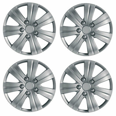 "Flare 16"" Car Wheel Trims Hub Caps Plastic Covers Set of 4 Silver Universal"