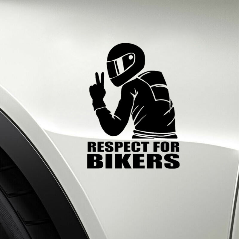 1pc 7.4inch Respect for Bikers Sticker Black//Silver White Car Motorcycle Decal