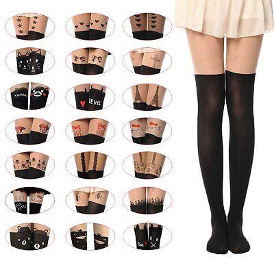 Sexy Black Cute Cat Tattoo Socks Sheer Pantyhose Mock Stockings Tights