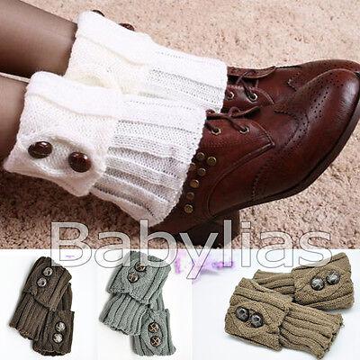 Boot Socks Leg Warmers Crochet Knit Toppers Girls Button Cuffs Knee Leggings Crochet Leg Warmers
