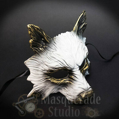 Wolf Animal Spirit Wall Decoration Costume Party Masquerade Mask [White/Gold] (White Wolf Costume)