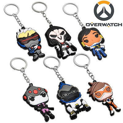 Game Overwatch Reaper Tracer Silicone Keychain Key Ring Pendant Collectible Gift