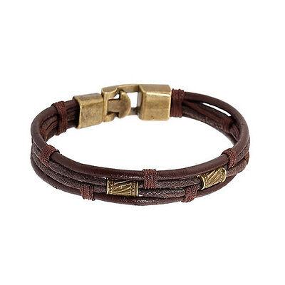 Sexy Sparkles Mens Vintage Leather Wrist Band Brown Rope Bracelet Bangle Braided Bracelets