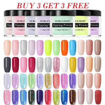 Nail Art Starter - NICOLE DIARY Nail Dip Dipping Powder Holo NO UV Polish Nail Art Starter Kits