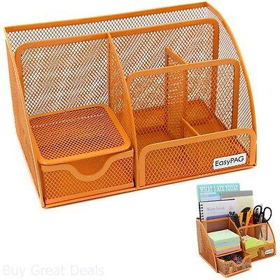 Business Office Desk Pen Note Steel Caddy 6 Slot Orange Drawer Organizer Storage