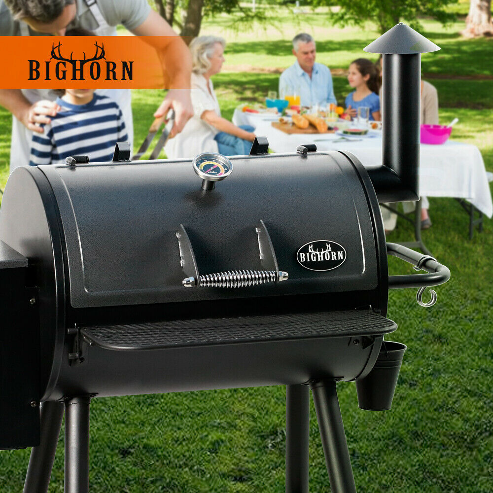6-in-1 cooking Pellet Grill Wood BBQ Grill Smoker Auto Temperature Control Black