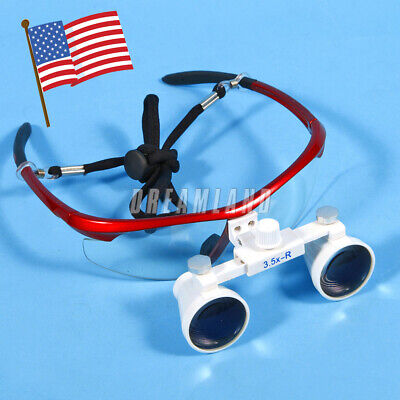 Dental Surgical Binocular Loupes Glasses Lens Magnifier 3.5x 420mm Red Usa