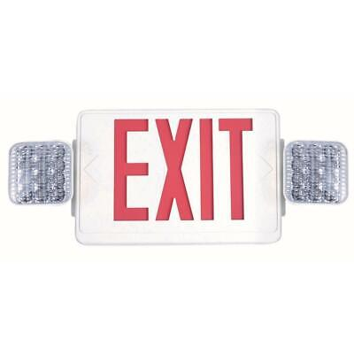 Exit Sign And Emergency Light Combo Kit White Integrated Led Battery Back Up