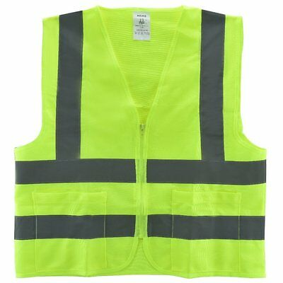 NEIKO 2 Pockets Neon Green Safety Vest with Reflective Strips ANSI/ISEA Medium